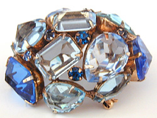 Newly Added Schreiner Domed Aqua Brooch