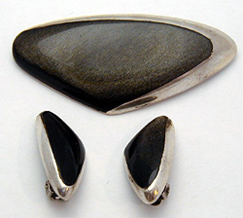 Newly Added Ledesma Mexican Sterling Golden Obsidian Brooch set