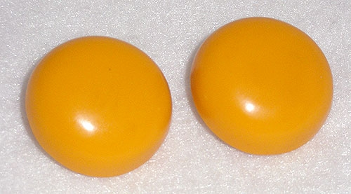 Newly Added Les Bernard Mustard Yellow Button Earrings