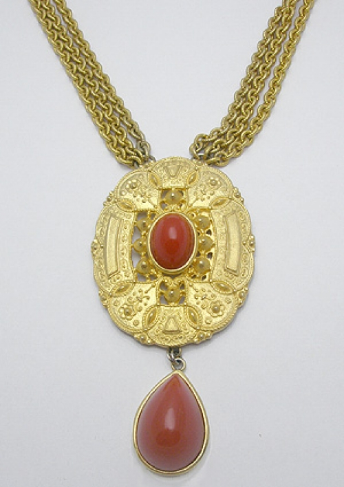 Newly Added Les Bernard Etruscan Style Medallion Necklace