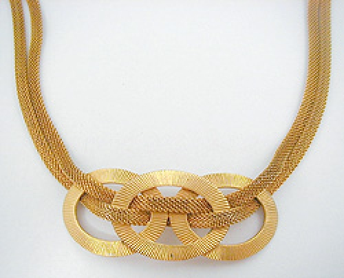 Newly Added Robert Gold Rings Mesh Necklace