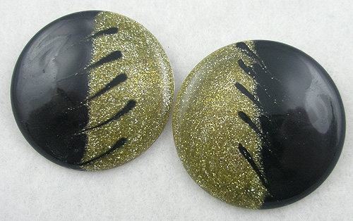 Newly Added Black & Gold Glitter Enameled Earrings