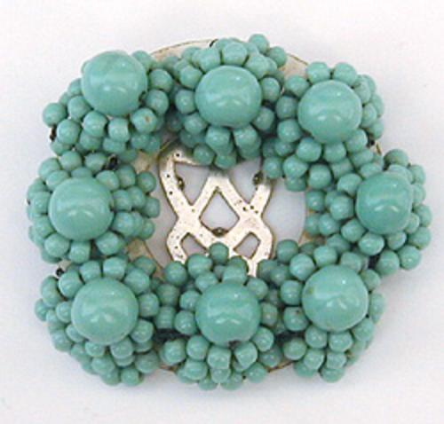 Newly Added Miriam Haskell Aqua Bead Dress Clip