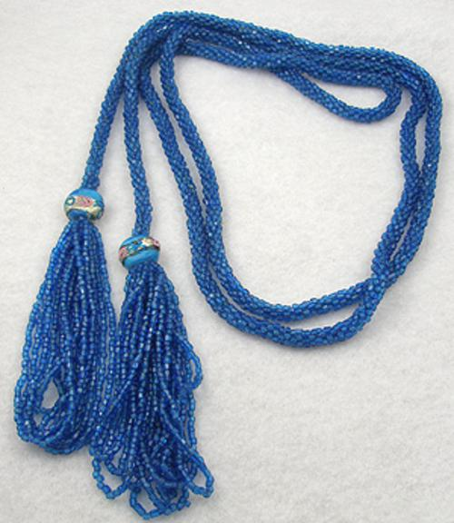 Newly Added Teal Blue Beads Flapper Lariat