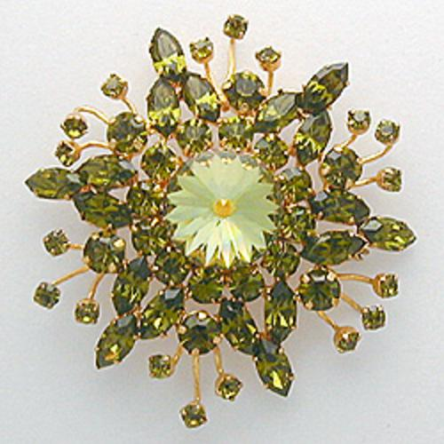 Newly Added Austria Peridot Rhinestone Brooch