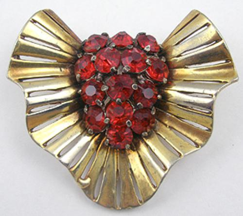 Newly Added Retro Red Rhinestone Ruffle Brooch