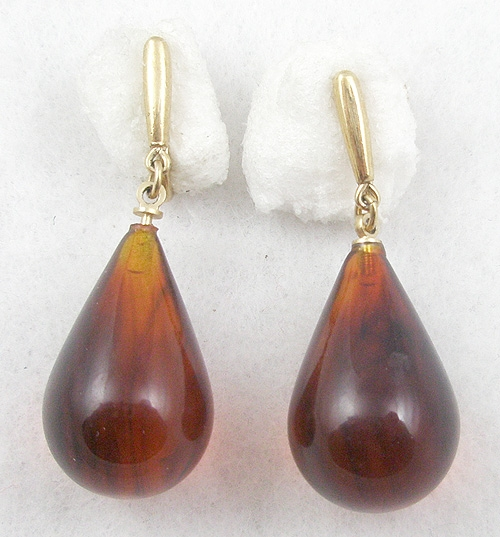Newly Added Trifari Amber Lucite Drop Earrings