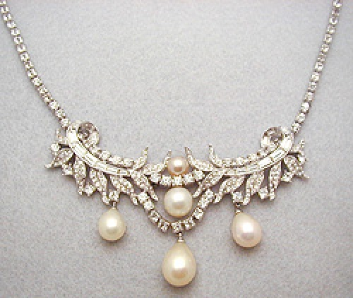 Newly Added Ciner Rhinestone & Pearl Necklace