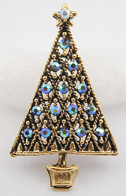 Newly Added Hollycraft Christmas Tree Brooch