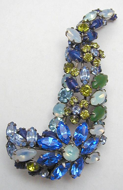 Newly Added Schreiner Sweeping Curved Rhinestone Brooch