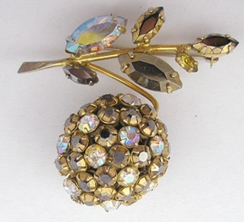 Newly Added Schreiner Gold Rhinestone Berry Brooch