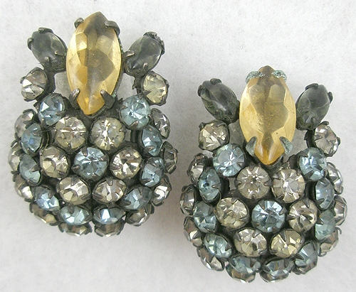 Newly Added Schreiner Gray & Blue Rhinestone Earrings