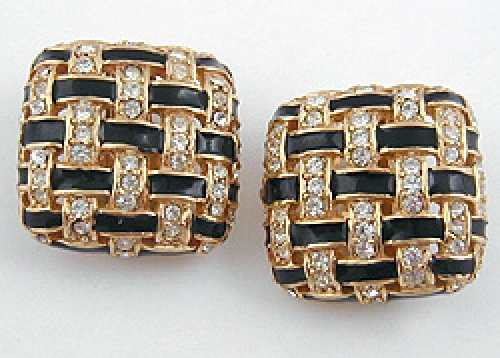 Newly Added Ciner Basketweave Rhinestone Earrings
