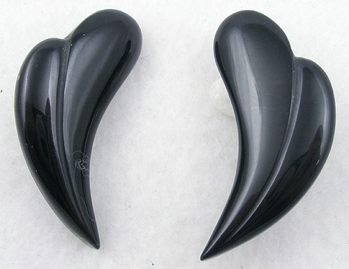 Newly Added Black Glass Curved Heart Earrings