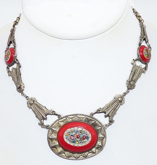 Newly Added Red Glass Micro Mosaic Necklace