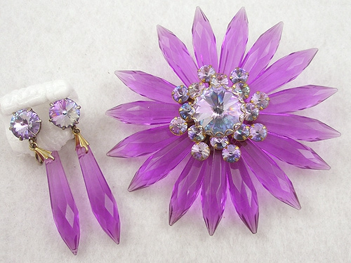 Newly Added Violet Lucite Flower Alexandrite Rhinestone Brooch Set