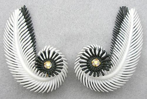 Newly Added Black & White Plastic Feather Earrings