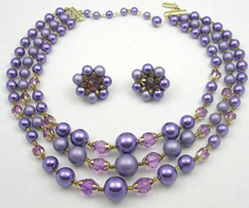 Newly Added Japan Purple Beads Necklace Set
