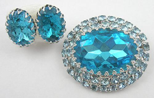 Newly Added Coro Aqua Rhinestone Brooch Set