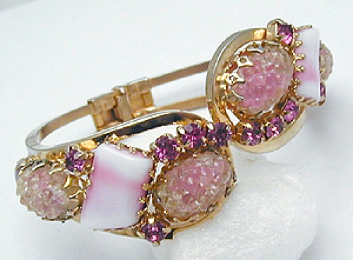 Newly Added Pink Glass Clamper Bracelet