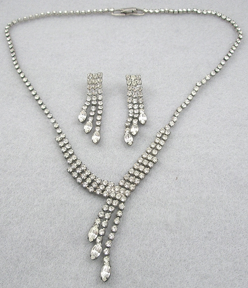 Newly Added Rhinestone Necklace & Earrings Set