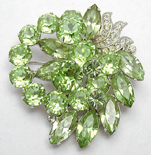 Newly Added Eisenberg Green Rhinestone Brooch