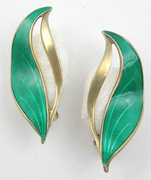 Newly Added Hroar Prydz Green Leaf Earrings