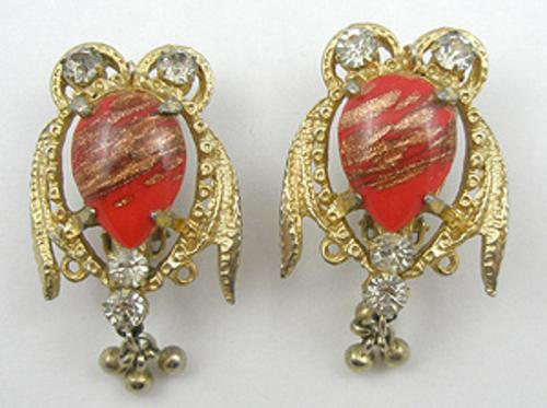Newly Added Hobe' Red Glass Owl Earrings