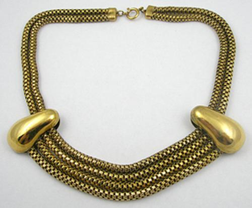 Newly Added Art Deco Brass Chains Necklace