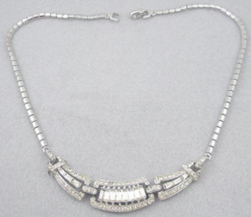 Newly Added Coro Rhinestone Baguette Necklace