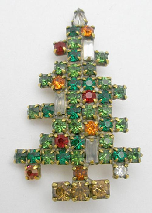 Newly Added Weiss Three Candle Christmas Tree Brooch