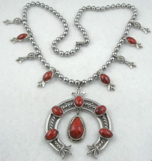 Newly Added Art Coral Squash Blossom Style Necklace