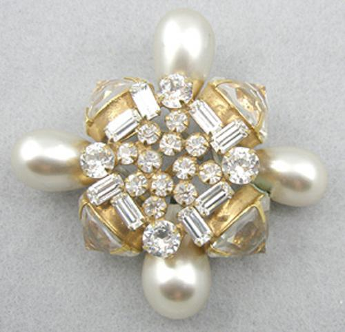 Newly Added Schreiner Rhinestone & Huge Pearl Brooch