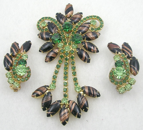 Newly Added DeLizza & Elster Black Copper Fluss Brooch Set
