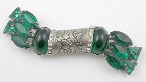 Newly Added Isser Singer & Son Emerald Rhinestone Brooch