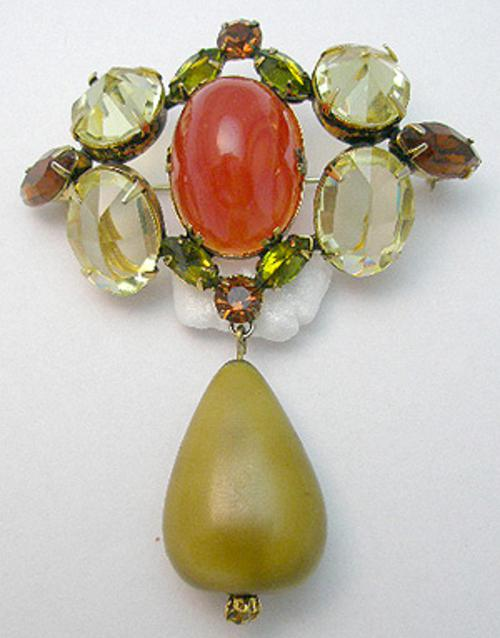 Newly Added Schreiner Yellow & Carnelian Glass Brooch