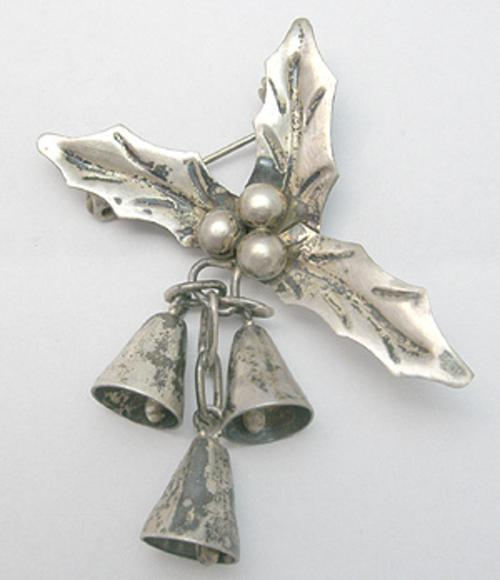 Newly Added Mexican Sterling Holly & Bells Brooch