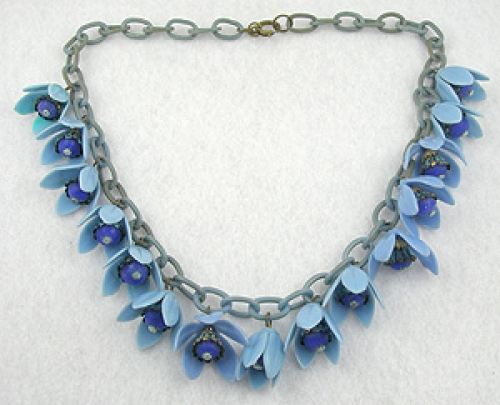 Newly Added Blue Plastic Flowers Necklace
