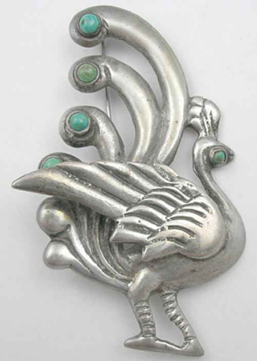 Newly Added Mexican Silver Peacock Brooch