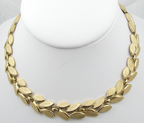 Newly Added Trifari Brushed Golden Leaves Necklace