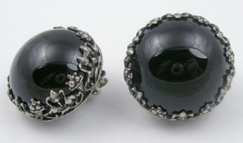 Newly Added Christian Dior by Kramer Black Glass Earrings