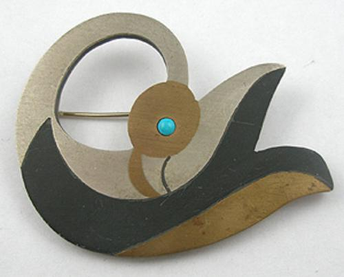 Newly Added Miguel Mixed Metals Swan Brooch