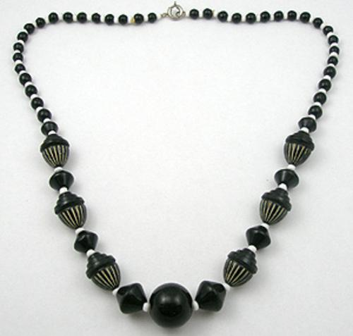 Newly Added Black & White Art Deco Beads Necklace