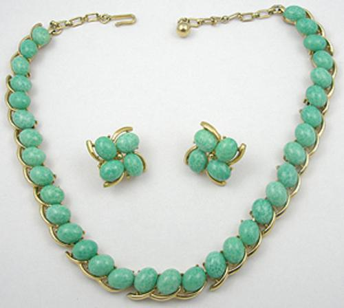 Newly Added Trifari Green Glass Necklace Set