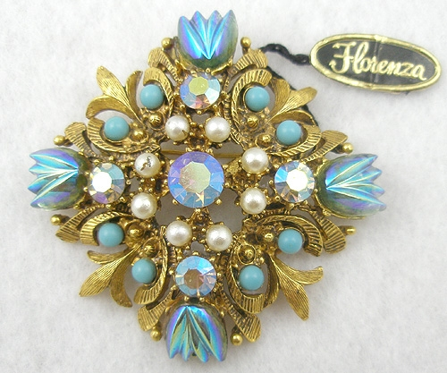 Newly Added Florenza Molded Carnival Glass Brooch