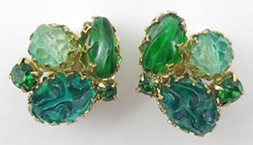 Newly Added Green Glass Nugget Earrings