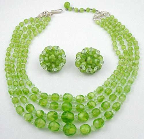 Newly Added West Germany Lime Green Glass Bead Necklace