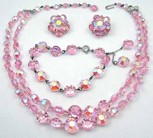Newly Added Pink Aurora Crystal Bead Parure