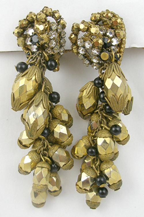 Newly Added Miriam Haskell Gold Bead Earrings