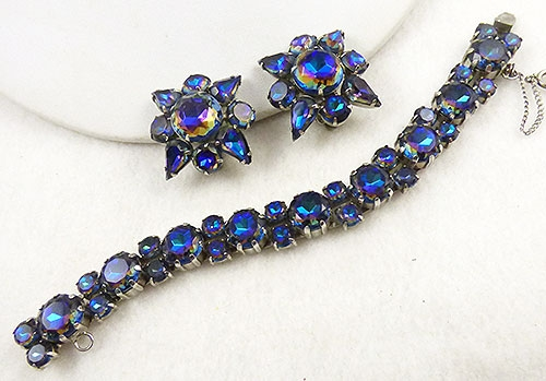 Newly Added Blue Watermelon Rhinestone Bracelet Set